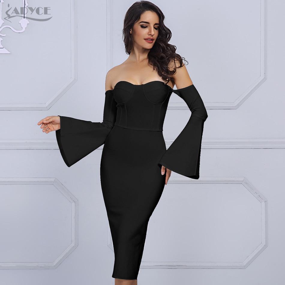 Adyce 2019 New Winter Women White Bandage Dress Elegant Celebrity Evening Party Dress Sexy Flare Sleeve