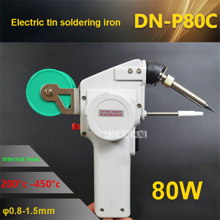 New DN-P80C Adjustable Temperature Electric Soldering Iron Welding Tool Automatic Send Tin Soldering Iron 220V 80W 0.8mm-1.5mmNew DN-P80C Adjustable Temperature Electric Soldering Iron Welding Tool Automatic Send Tin Soldering Iron 220V 80W 0.8mm-1.5mm