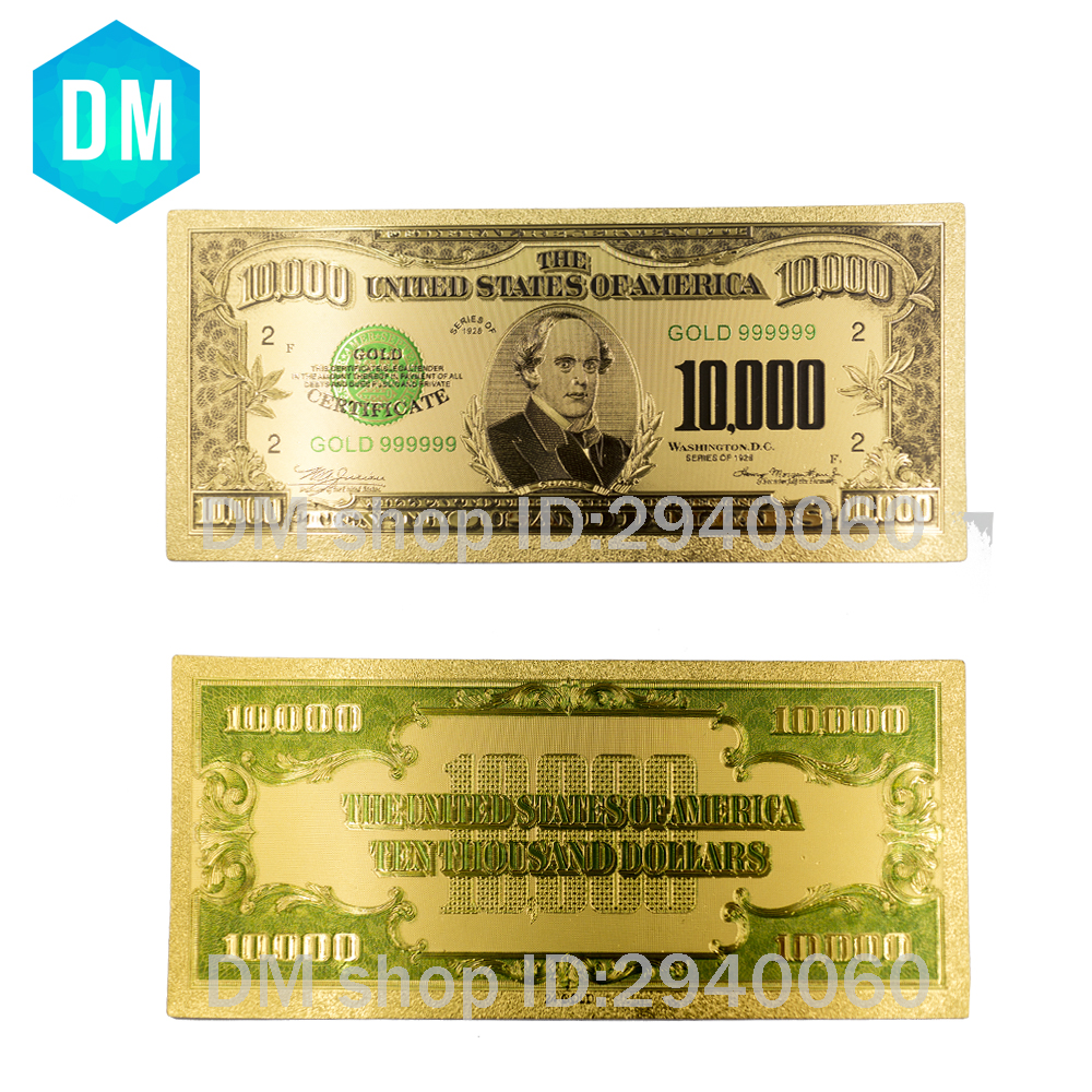 Colorful USA Banknotes 10000 Dollar Bill Banknotes Gold Plated Fake Money Beautiful Decor And Collection Bank Notes