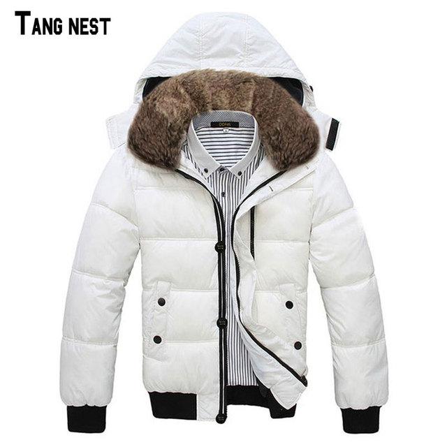 Tangnest homens casacos 2017 homens novos da chegada prevista moda sólida estilo coreano casaco quente casual masculino com capuz casacos outono & inverno mwm001