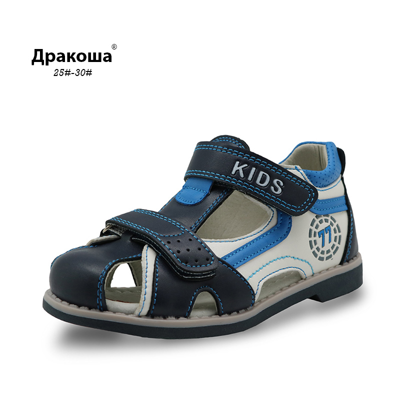 Apakowa New Kids summer shoes closed toe toddler boys sandals Arch Support Orthopedic sport pu