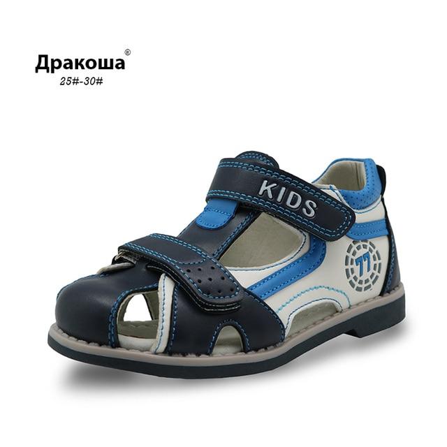 Apakowa новая детская летняя обувь с закрытым носком сандалии для мальчиков супинатор ортопедический Спорт искусственная кожа маленьких мальчиков сандалии обувь