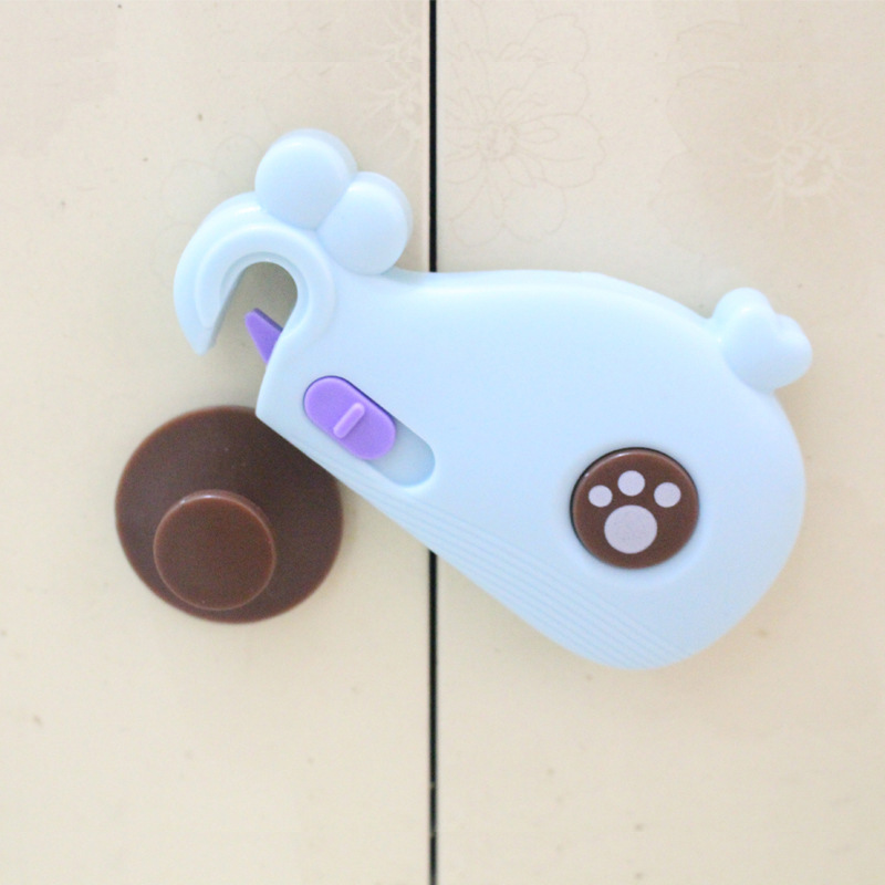 Hot Selling Baby Safety Locks Plastic Cartoon Whale Children Security Drawer Lock For Cabinet Fridge Door