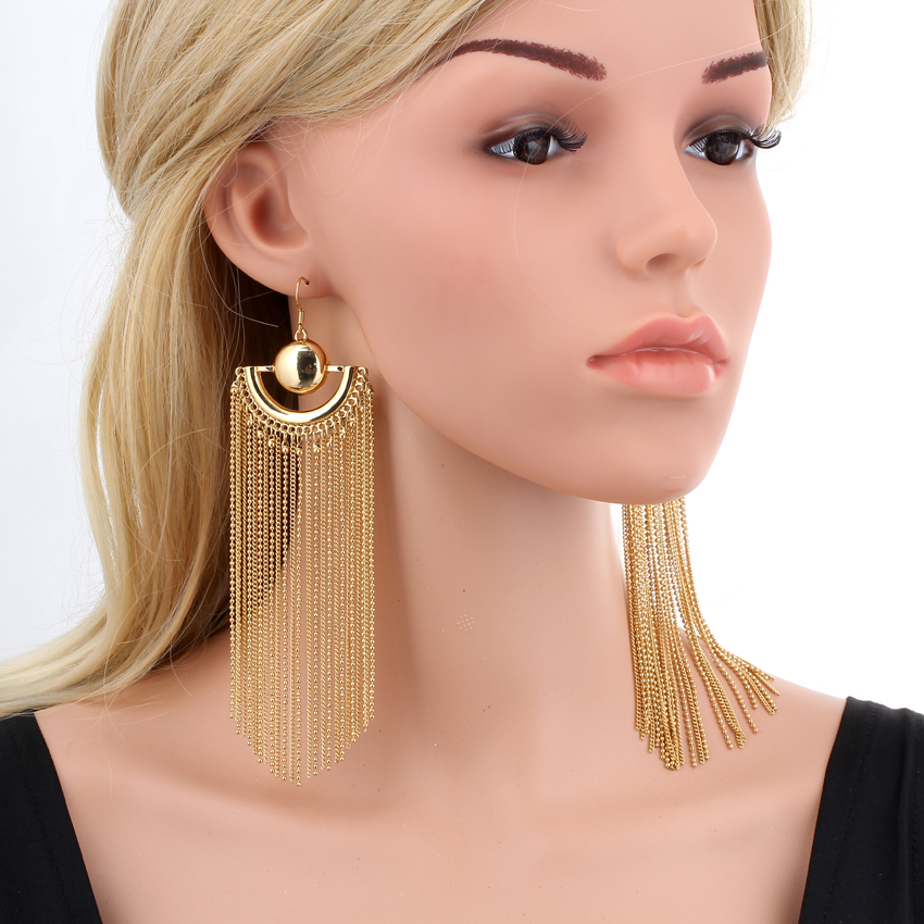 Womens Ladies Fashion Yellow Clear Bead Chains Fringe Tassels Drop Hook Earrings