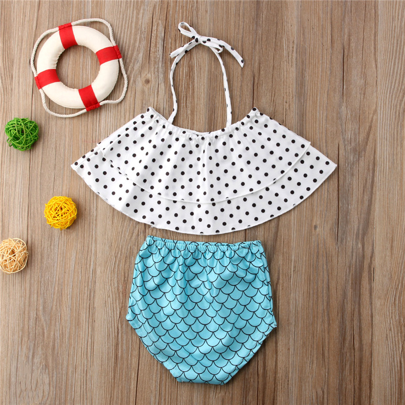 Fashion Baby Girl Cothes Beachwear Infant Baby Girl Summer Clothing Set Ruffles Tops + Shorts 2pcs Girl Set Baby Swimsuit