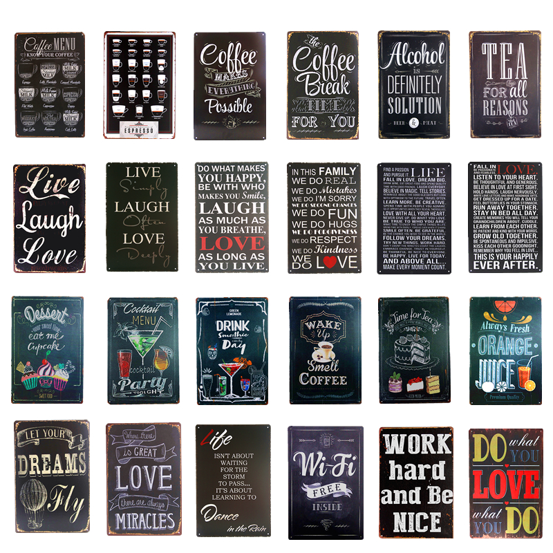 Vintage Metal Tin signs Coffee Menu Tea Wi- Fi Bar Beer Art Posters Home Decor Restaurant Coffee Cafe Wall Plaques sticker