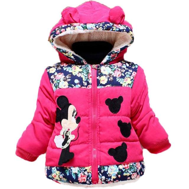 68c4c9fc6412 Baby Girls Autumn Winter Minnie Dot Jacket Coat Clothes Children ...