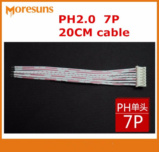 Fast Free Ship 100pcs/lot 7P PH Red And White Flat Cable Single-end PH2.0 Plug,other End Tin Plating 20CM Cable