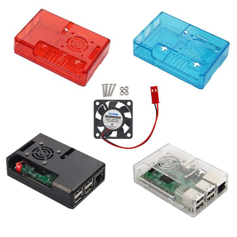 Raspberry Pi 3 Model B+ ABS Case Plastic Box Cover Hard 4 Color Shell + Cooling Fan for Raspberry Pi 3 B+/ 3 / 2 / B+