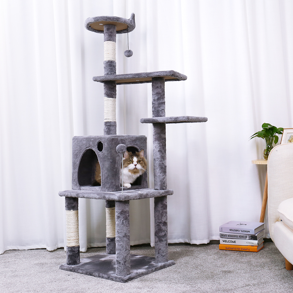 Finether 113 cm High Cat Tree Tower Furniture Kitten Playhouse Sisal Covered Scratching Posts Perches Platforms Ladders