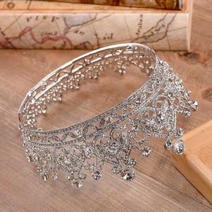 Image 5 - FORSEVEN Full Circle Rhinestones Bride Tiaras Queen Princess Pageant Diadem Crown de Noiva Wedding Hair Jewelry Accessories