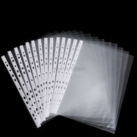 A4 Strong Transparent Poly Punched Pockets X 50 Sleeves 11 Holes PP Bag For Ring Binder