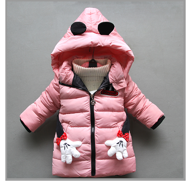BibiCola winter warm girls coats children cartoon long sleeve thick outerwear casual hooded cardigan down parkas kids snow suit