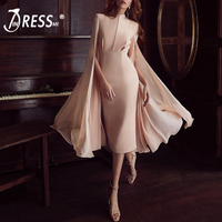 INDRESSME Women Bodycon Summer Dresses O Neck Batwing Sleeve Mid Calf Length Luxury Celebrity Party Club Vestidos 2018 New
