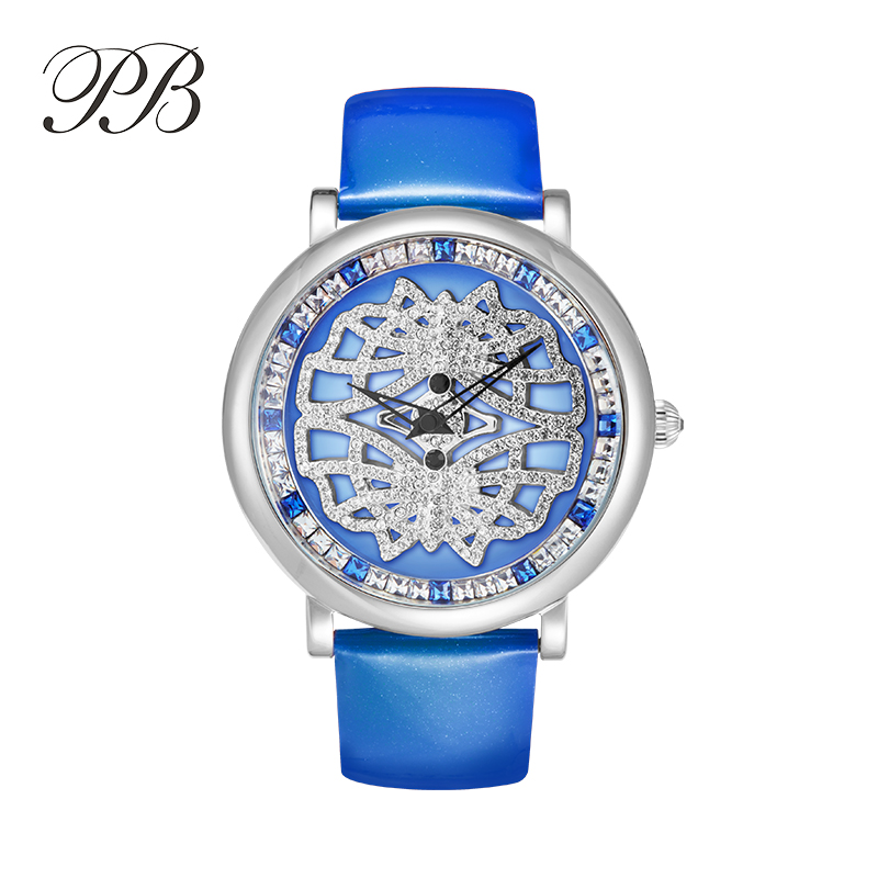 PB Princess Butterfly Luxury Fashion Ladies Watch Crystal Flower Dial Water Resistant Leather Strap Quartz Womens WatchesPB Princess Butterfly Luxury Fashion Ladies Watch Crystal Flower Dial Water Resistant Leather Strap Quartz Womens Watches