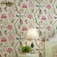 American Village Pastoral Retro Flower Bird Nonwoven Fabric Wallpaper Living Room Bedroom TV Sofa Background Wallpaper