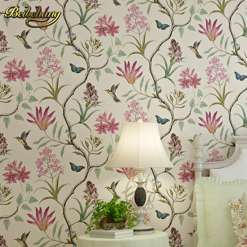 beibehang American Village Pastoral Retro Flower Bird Non woven Fabric Wallpaper Living Room Bedroom TV Sofa Background american country leaf branch flower pastoral non woven wallpaper bedroom living room 3d stereoscopic background wallpaper mural