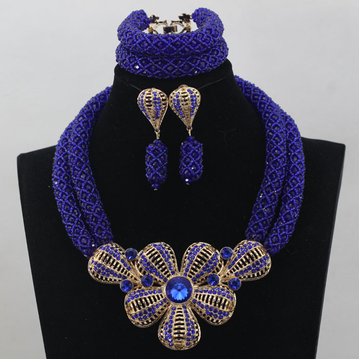 Royal Blue African Beads Jewelry Set for Nigerian Wedding Crystal ...