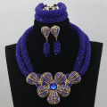 Royal Blue African Beads Jewelry Set for Nigerian Wedding Crystal Rhinestone Pendant Bib Necklace Set Gift Free Shipping WD206