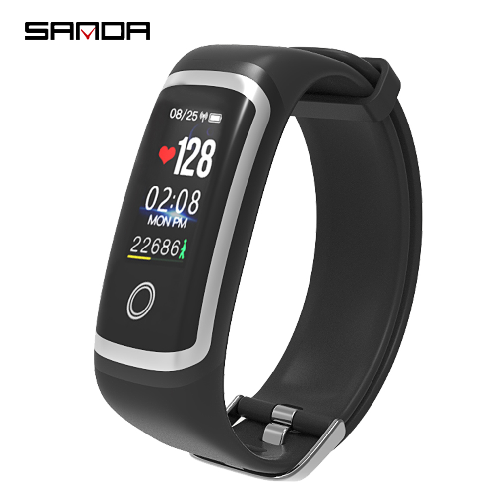 SANDA Men Women Fitness Tracker Bluetooth Bracelet Heart Rate Monitor Smart Watch Call Reminder Sport Wristband for iOS Android new fashion smart watch dial call 16g card heart rate monitor wristband for ios android bluetooth smart band women men bracelet