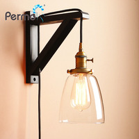 Permo Handmade Wooden Lamp Hook Wall Sconce Light Vintage Glass Wall Lamp With Wood Stand Loft Lights Fixture Home Decorations