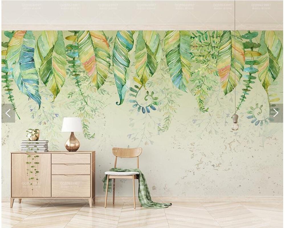 カスタムナチュラル壁紙 緑の葉水彩の壁画リビングルームのソファ
