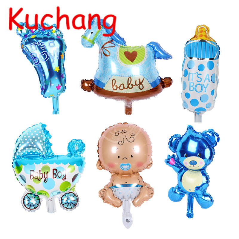 6pcs/lot MINI Baby Boy/Girl Foil Balloon Baby Shower Balloon Kid Baby Birthday Party Decoration Baby <font><b>1</b></font> Year Birthday supplies image