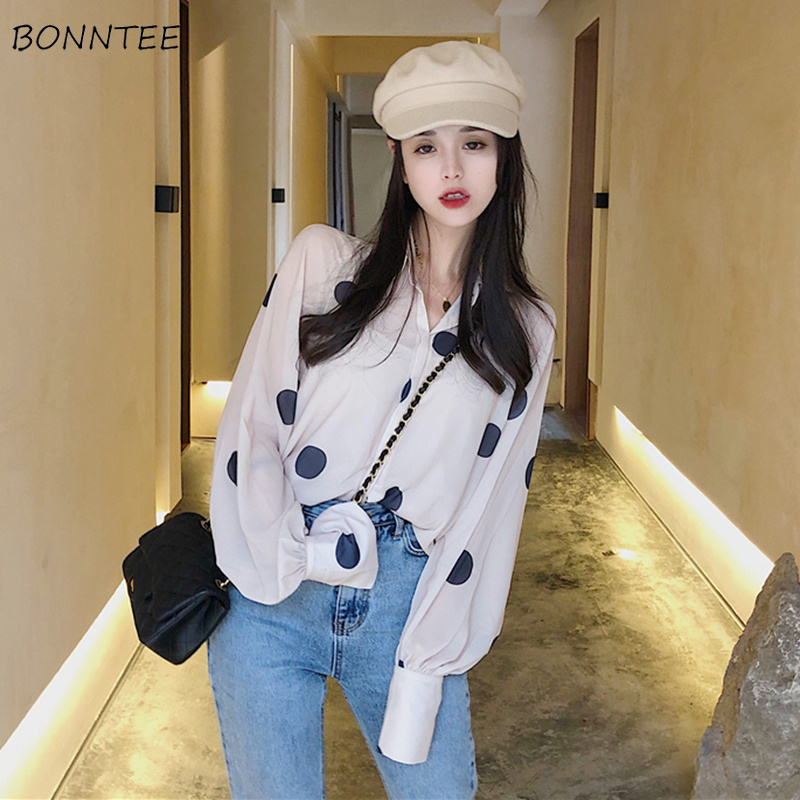 Shirts Women Large Polka Dot Chiffon Thin Trendy Turn-Down Collar Womens Long Sleeve Shirt All-match Korean Soft Female Elegant