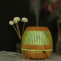 400ml Aromatherapy Essential Oil Diffuser Wood Grain Hallow 7 Color Light Aroma Lamp Humidifier Home Difusor Aromaterapia
