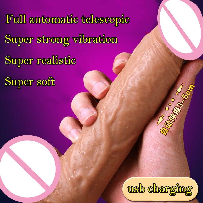 где купить Automatic Telescopic dildo realistic suction cup dildo horse big penis dildo vibrator big dick sex toys vibrators for women по лучшей цене