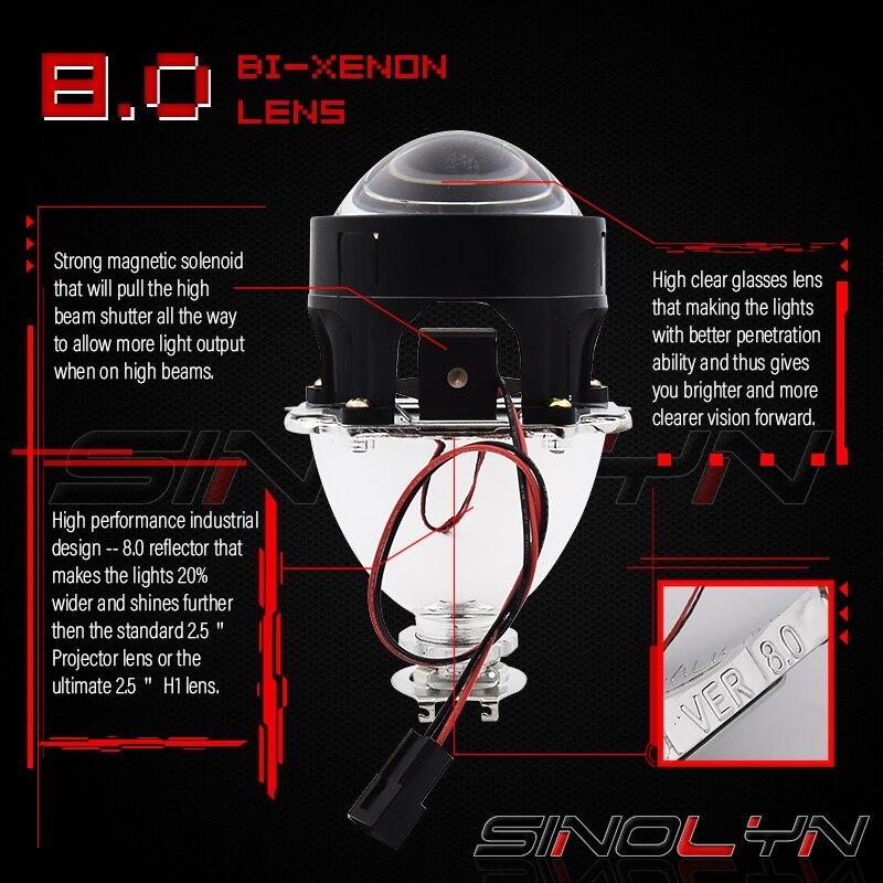 Sinolyn LED feux de course ange yeux HID Bi xénon projecteur lentilles pour phares H4 H7 voiture rénovation phare lentille diable yeux - 2