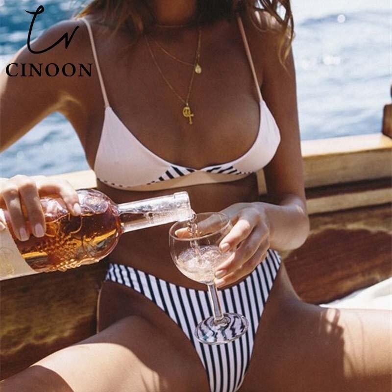 CINOON 2018 sexy Bikini Women Women printed black white Bikini Top Sexy Swimwear Swimsuit Biquini Beachwear