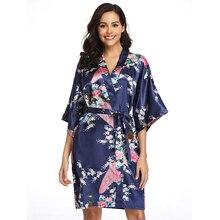 Satin Robes Women Loose Sexy Kimono Sleepwear Nightgown Dress Short Flower And B