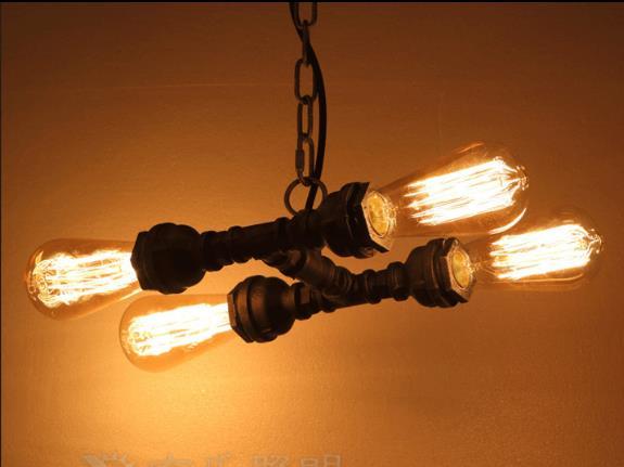 4 Heads American Retro Iron Pendant Lamp Industrial Vintage Water Pipe Light Loft Bar Decoration Light Free Shipping