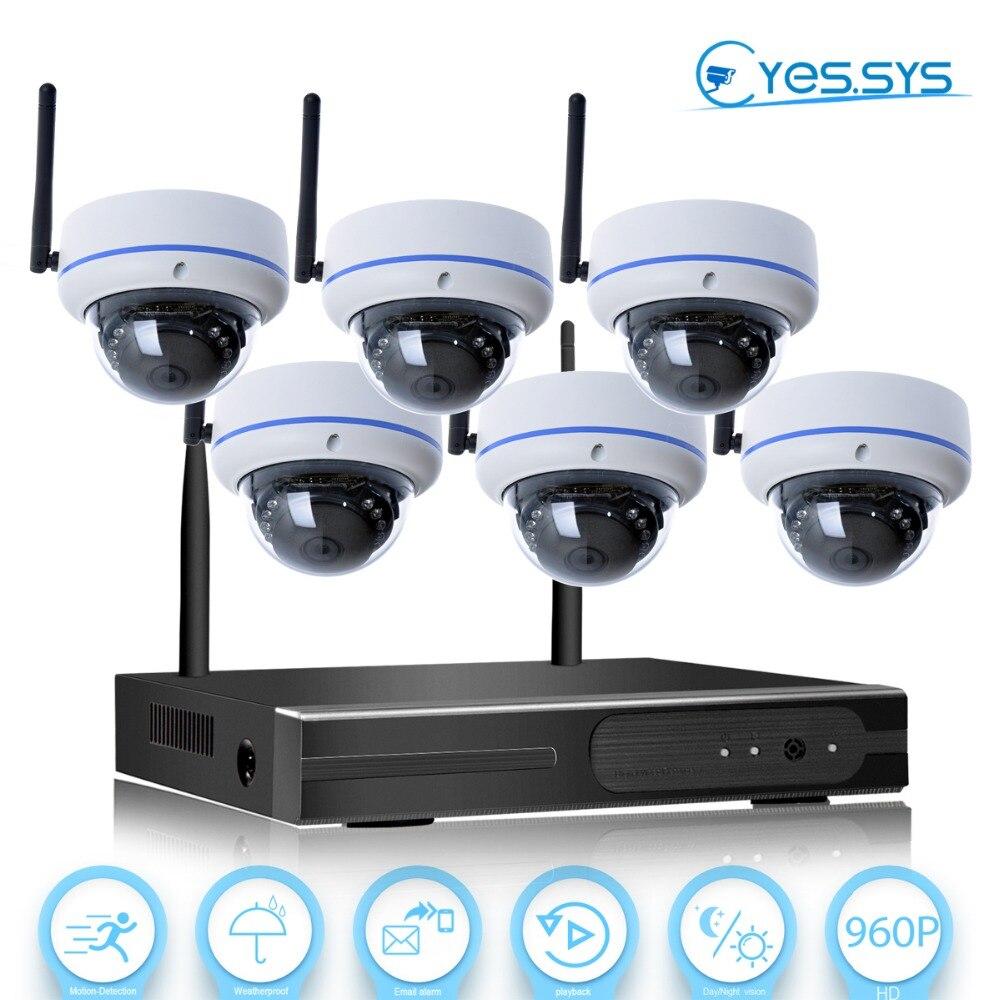 eyessys security camera system video surveillance kit 6pcs wifi nvr kit p2p hd 960p night vision. Black Bedroom Furniture Sets. Home Design Ideas