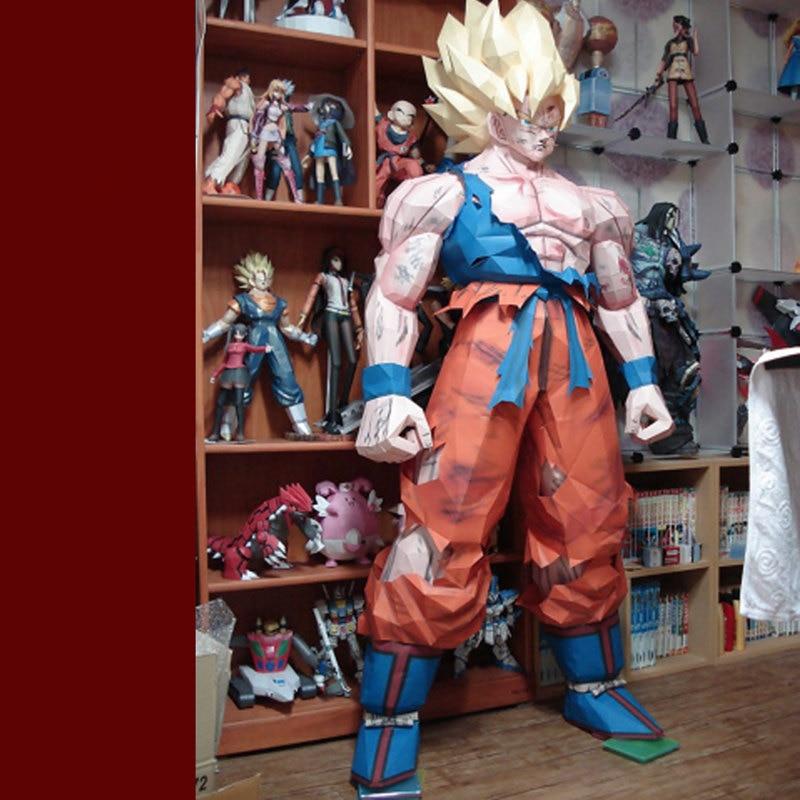 175 CM papier 1:1 Son Goku modèle jouets fait à la main bricolage matériel manuel créatif fête spectacle accessoires marée décorer Image cadeau Dragon Ball