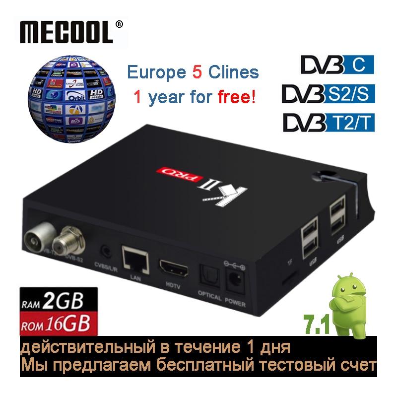 MECOOL KII Pro 2g 16g Double WiFi Android Smart TV Box DVB S2 C T2 ISDB-T Combo Ensemble -top Boxes HD Hybride DVB-S2 Satellite Récepteur