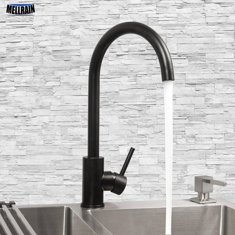 Black Single Hole Kitchen Sink Water Mixer Stainless Steel Kitchen Faucet Deck Mounted Water Tapware White