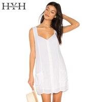HYH HAOYIHUI Solid White V Neck Pockets Strap Dress Casual Back Cross Lace Up Vestidos OL
