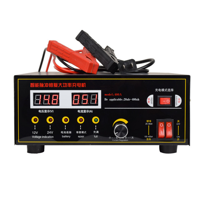 Full Automatic 12v 24v 400ah Lorry Truck Battery Charger Led Display Pulse Repair Type Large Quick