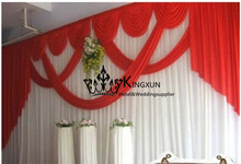 White Wedding Backdrop Curtain With Red Swags