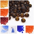 50g 8/0 Frosted Round Glass Small Jewelry loose Findings Little Seed Beads 3mm in diameter, hole:1mm, about 1101pcs/50g