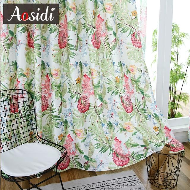 Tende della finestra per Soggiorno camera Da Letto Fiore pianta verde Puro tulle e tenda di stampa bluckout tende Ombreggiatura 70% Personalizzato