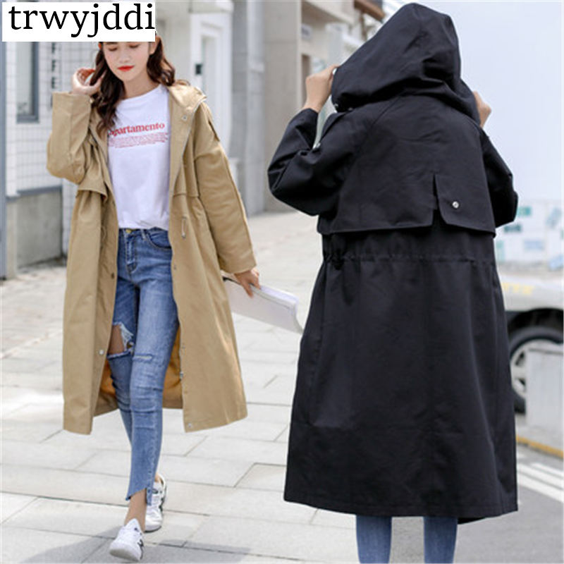 Plus Size Long Coat Women Spring Autumn Harajuku Windbreaker 2018 New Hooded Casual Trench Solid Fashion Female Overcoat N109