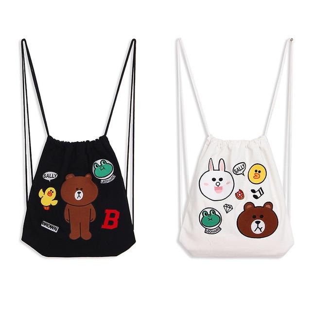 Bagtalk Yj06 Cut Bear Design High Quality Embroidery S And Boys Drawstring Bag Cotton Canvas Kids
