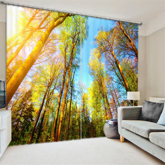Towering trees 3D Blackout Window Curtains For Living room Bedding room Home Decor Tapestry Wall Carpet Drapes Cotinas