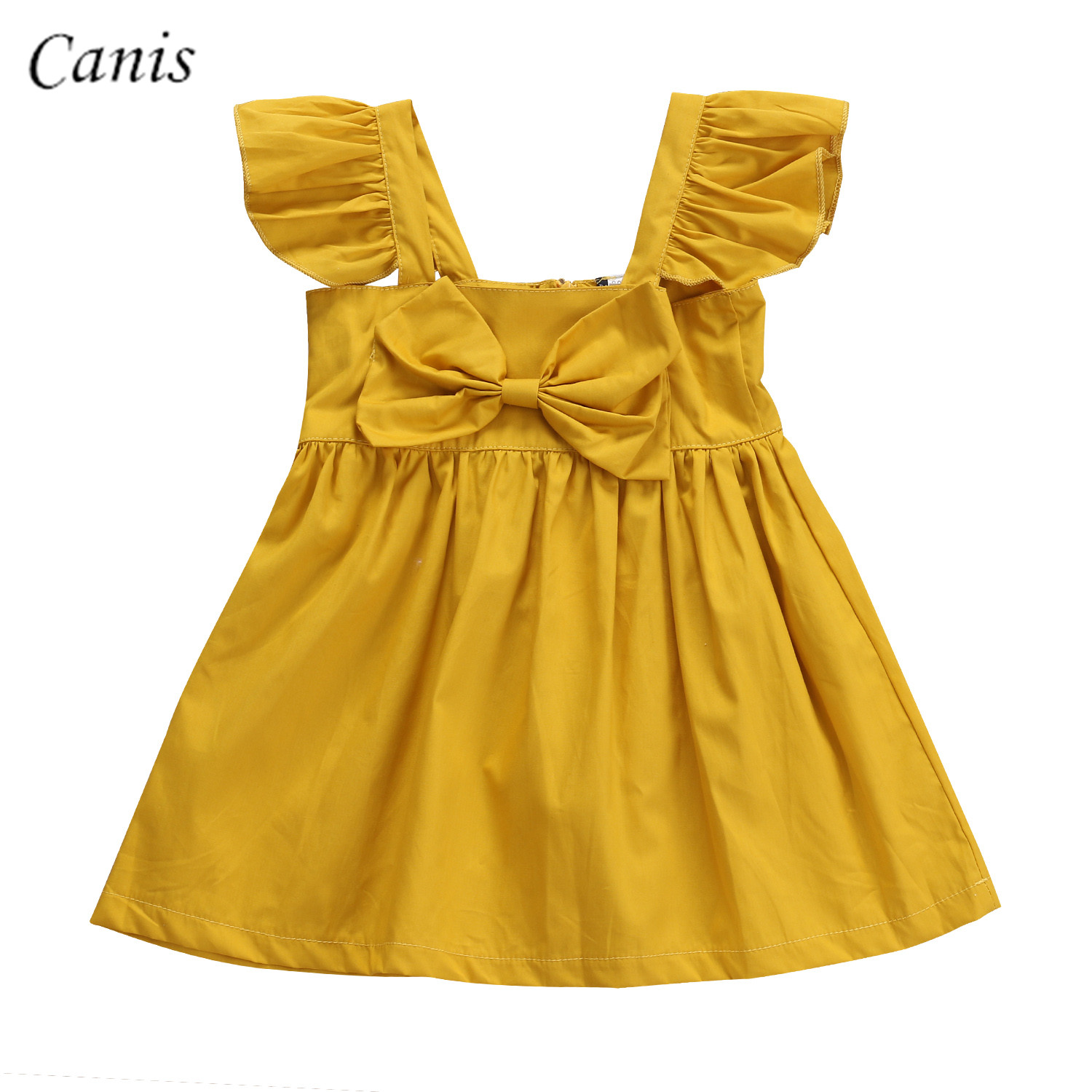 2017 Newborn Infant Cute Kids Baby Girls Yellow Dress Clothes