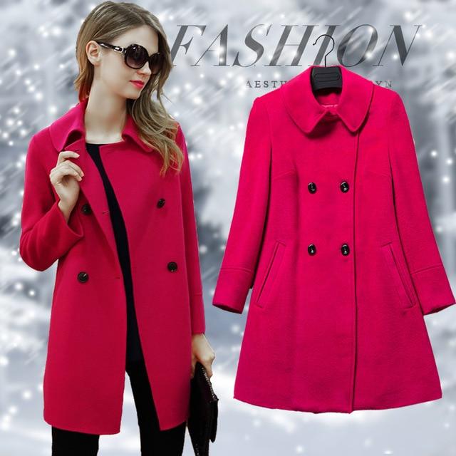 2018 Winter Womens Jacket Double Breasted Turn Down Women Coat Medium Length Female Overcoat Women Clothes RWC175005 1