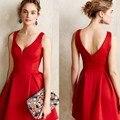 Женщины Черный Красный Сплошной Цвет V-образным Вырезом Линия Dress Зимний Стиль С Плеча Sexy Party Пляж Повседневные Платья