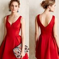 Women Black Red Solid Color V-Neck A Line Dress Winter Style Off Shoulder Sexy Party Beach Casual Dresses